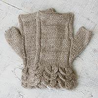 100% alpaca fingerless mitts, 'Petals' - Handmade Alpaca Wool Solid Beige Fingerless Mitts