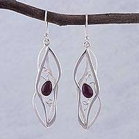 Amethyst dangle earrings, 'Lyrical'