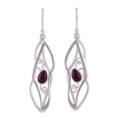 Amethyst dangle earrings, 'Lyrical' - Artisan Crafted Modern Sterling Amethyst Dangle Earrings
