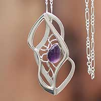 Amethyst pendant necklace, 'Lyrical' - Amethyst pendant necklace