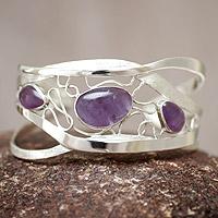Amethyst cuff bracelet, 'Lyrical' - Modern Sterling Silver Cuff Amethyst Bracelet