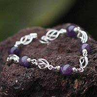 Amethyst beaded bracelet, 'Violet Twist' - Collectible Fine Silver Beaded Amethyst Bracelet
