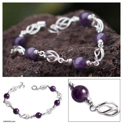 Amethyst beaded bracelet, 'Violet Twist' - Collectible Fine Silver Beaded Amethyst Bracelet