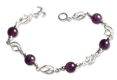 Amethyst beaded bracelet, 'Violet Twist' - Collectible Sterling Silver Beaded Amethyst Bracelet