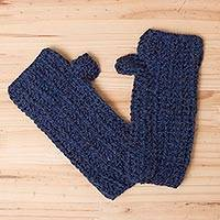 100% alpaca fingerless mittens, 'Blue Mountain' - Alpaca Wool Hand Knit Fingerless Gloves