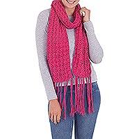 100% alpaca scarf, 'Rose Starburst' - Women's Alpaca Wool Crochet Scarf
