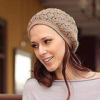 100% alpaca hat, 'Atacama Sands' - Artisan Crafted Alpaca Wool Solid Brown Hat