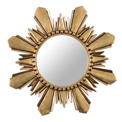 Mohena wood mirror, 'Cuzco Sun' (medium) - Handcrafted Gilded Wood Mirror (Medium)