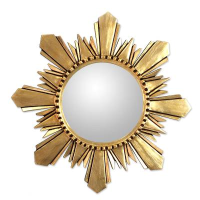 "Mohena wood mirror, 'Cuzco Sun' (large) - Unique Round Gilded Wood Mirror (22"") with Bronze Leaf"