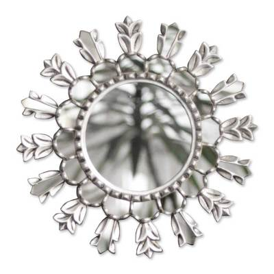 Fair Trade Floral Wood Mirror with Silver Finish (Large)