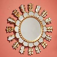 Mohena wood mirror, 'Golden Tulip Sun' - Floral Mohena Wood Mirror