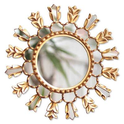 Floral Mohena Wood Mirror