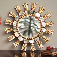 Mohena wood mirror, 'Fleur de Lis' - Mohena Wood Round Sun Mirror with Bronze Leaf