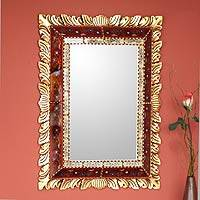 Reverse-painted glass wall mirror, 'Scarlet Flame'
