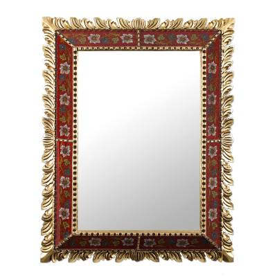 Reverse-painted glass wall mirror, 'Scarlet Flame' - Rectangular Handcrafted Floral Reverse-Painted Glass Mirror