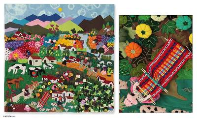 Cotton applique wall hanging, 'Andean Hillside' - Handmade Applique Patchwork Wall Hanging Tapestry 39x39