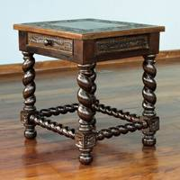 Mohena wood and leather accent table, 'Viceroy' - Handcrafted Traditional Leather Wood End Table