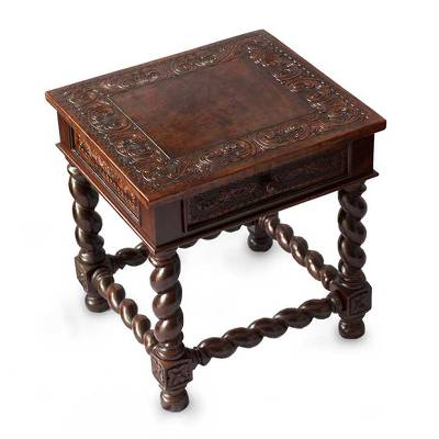 Mohena Wood And Leather Accent Table, U0027Viceroyu0027   Handcrafted Traditional  Leather Wood End