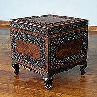 Mohena wood and leather accent table, 'Tradition'