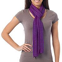 Alpaca blend scarf, 'Lavender Trends' - Collectible Alpaca Wool Scarf