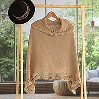 Alpaca blend poncho, 'Golden Camel' - Handmade Alpaca Wool Blend Knit Poncho