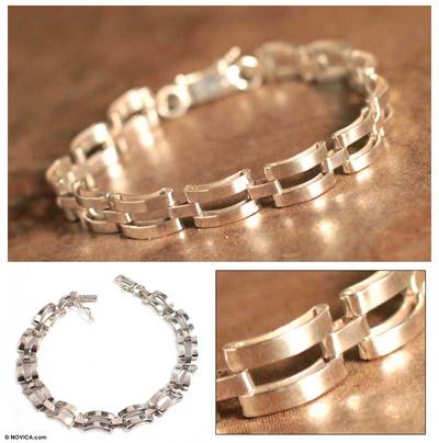 Men's sterling silver bracelet, 'Emperor' - Men's Fine Silver Link Bracelet
