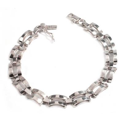 Men's sterling silver bracelet, 'Emperor' - Men's Sterling Silver Link Bracelet