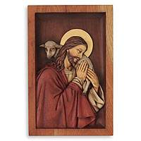 Cedar relief panel, 'Blessed Good Shepherd'