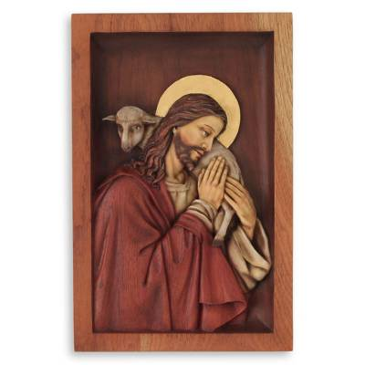 Hand Carved Wood Relief Wall Panel With Bronze Leaf, 'Blessed Good Shepherd'