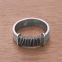 Silver band ring, 'Aesthetic Peru'