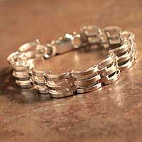 Men's sterling silver bracelet, 'Emperor's Treasure' - Men's Sterling Link Artisan Handcrafted Bracelet