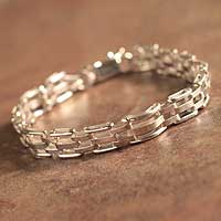 Men's sterling silver bracelet, 'Executive' - Men's Handmade Sterling Silver Link Bracelet
