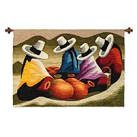 Wool tapestry, 'Clay Jar Merchants' - Wool tapestry