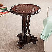 Mohena wood and leather accent table, 'Colonial Fern' - Unique Colonial Wood Leather Accent Table Furniture
