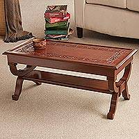 Mohena wood and leather coffee table, 'Fern Garland'