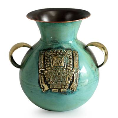 Bronze and copper vase, 'Inca Deities' - Bronze and Copper Vase with Tumi Knife from Peru