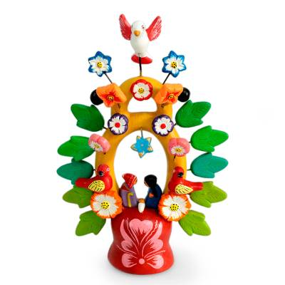 Ceramic sculpture, 'Sweet Nativity' - Fair Trade Christmas Ceramic Bird Sculpture