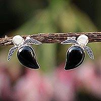 Obsidian button earrings, 'Turtle Tales' - Peruvian Obsidian and Silver Button Earrings