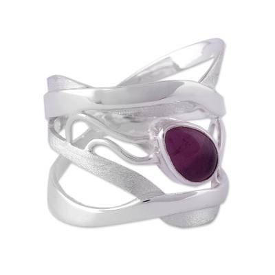Amethyst band ring, 'Lyrical' - Modern Sterling Silver Single Stone Amethyst Band Ring