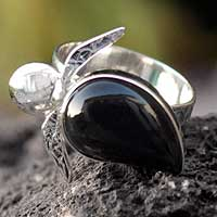 Obsidian cocktail ring, 'Turtle Tales' - Obsidian and Silver Cocktail Ring