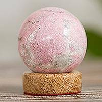 Rhodonite sphere, 'Refinement' - Rhodonite Sphere Sculpture from Peru