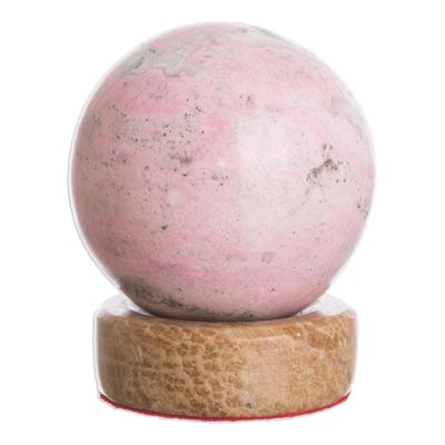 Rhodonite sphere, 'Refinement' - Rhodonite Sphere Sculpture from Peru