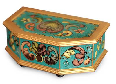 Painted glass box, 'Precious Turquoise' - Painted glass box