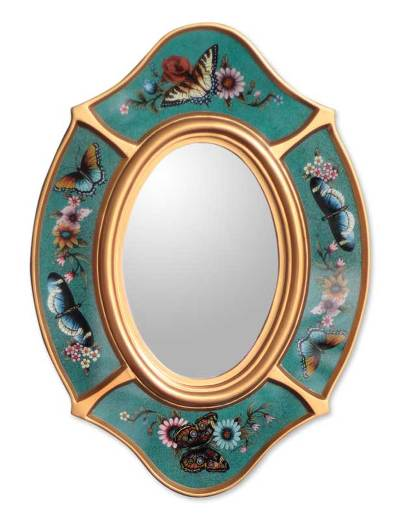 Mirror, 'Turquoise Butterfly' - Mirror
