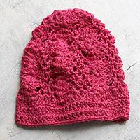100% alpaca hat, 'Cherry Blossoms' - 100% alpaca hat