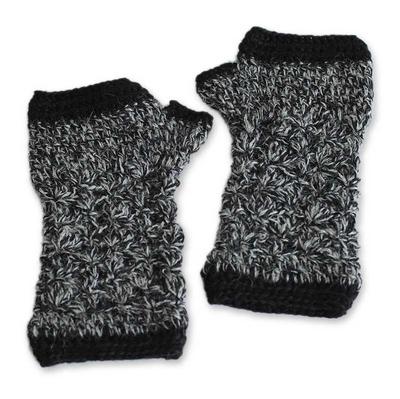 100% alpaca fingerless mitts, 'Winter Bouquet' - Alpaca Wool Fingerless Crochet Gloves