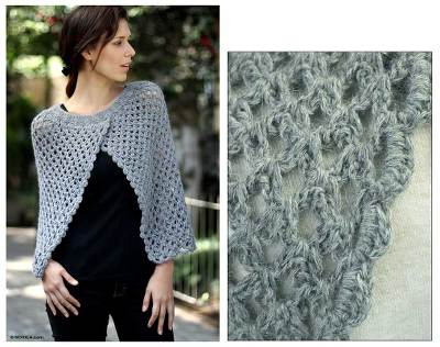 100% alpaca poncho, 'Silver Night' - Women's Alpaca Wool Crocheted Poncho from Peru