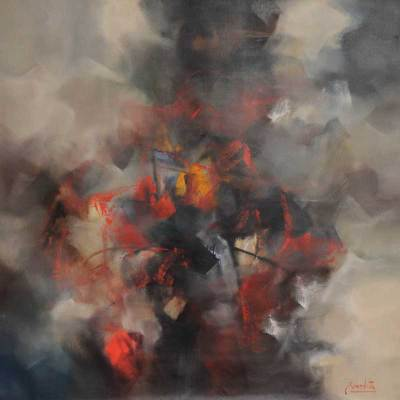 'Composition in Grays' (2010) - Abstract Painting