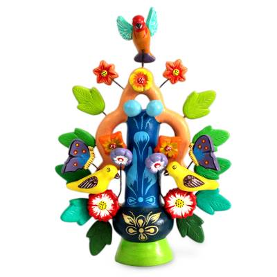 Ceramic candleholder, 'Spring Tree of Life' - Collectible Ceramic Candle Holder
