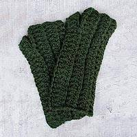 100% alpaca fingerless mittens, 'Jade Mountain' - 100% alpaca fingerless mittens